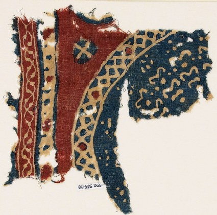Textile fragment with bands and part of a large circle