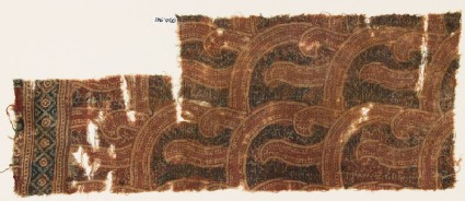 Textile fragment with curving shapes and tendrils