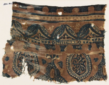 Textile fragment with leaves, niches, and tendrils