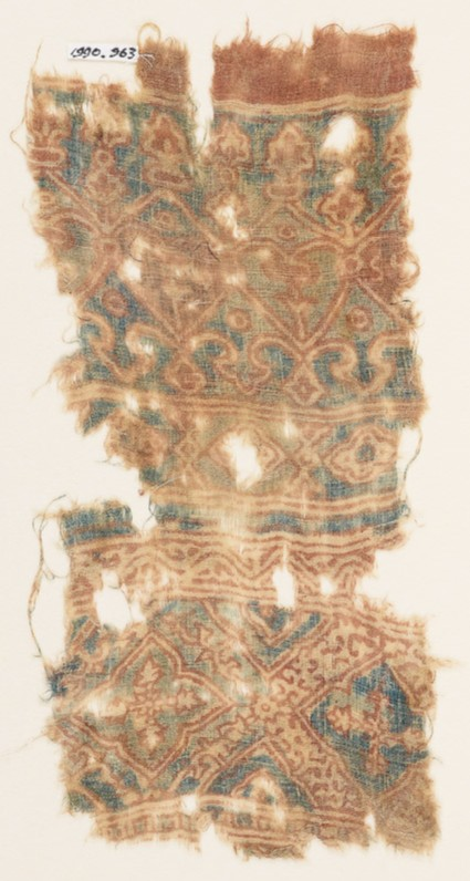 Textile fragment with hearts, trefoils, and quatrefoils