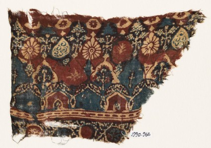 Textile fragment with arches, stylized trees, and rosettes