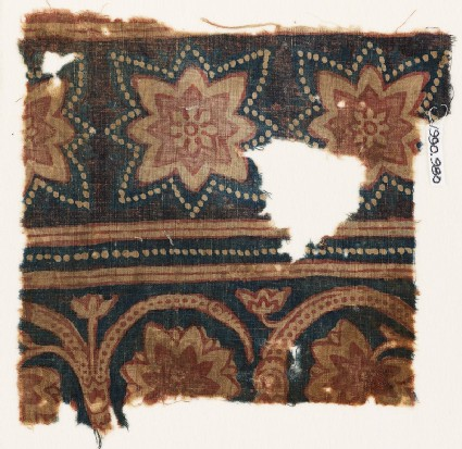 Textile fragment with star-shaped flowers