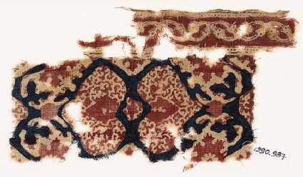 Textile fragment with hearts and tendrils