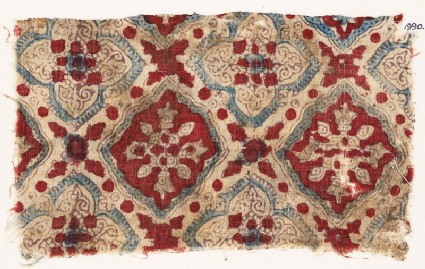 Textile fragment with quatrefoils and squares