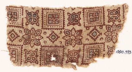 Textile fragment with squares, flowers, quatrefoils, and diamond-shapes