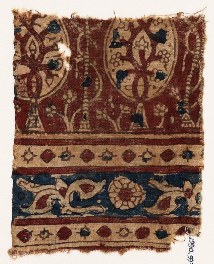 Textile fragment with stylized trees and leaves