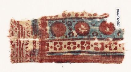 Textile fragment with circles and quatrefoils