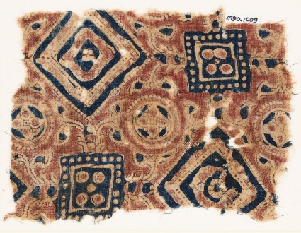 Textile fragment with squares, circles, and quatrefoils