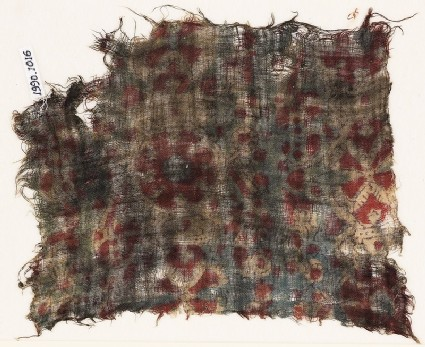 Textile fragment, possibly with medallions and cartouches