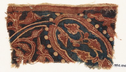 Textile fragment with stem, tendrils, and bunches of fruit
