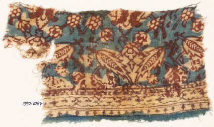 Textile fragment with floral patterns