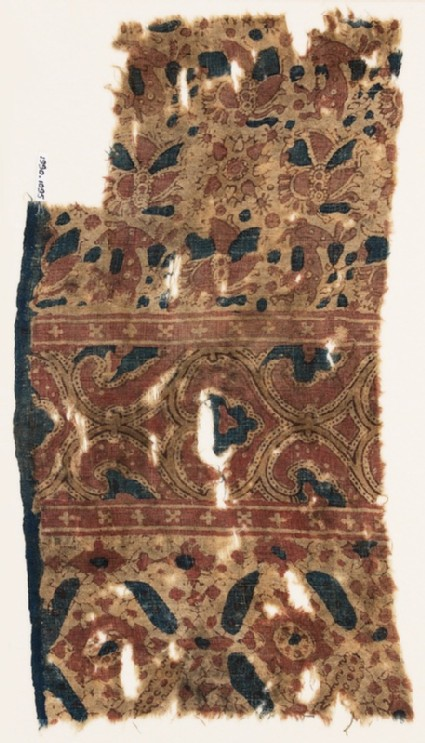 Textile fragment with deer, flowers, and hearts
