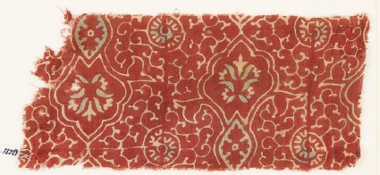 Textile fragment with tendrils, ovals, and flowers