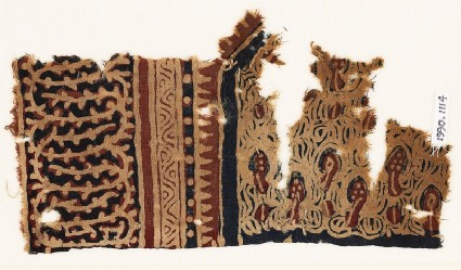 Textile fragment with plants and an interlacing vine