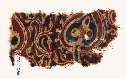 Textile fragment with tree and fruits