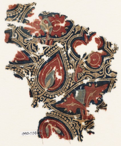 Textile fragment with stylized leaves or trees