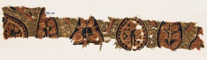 Textile fragment with stylized leaves