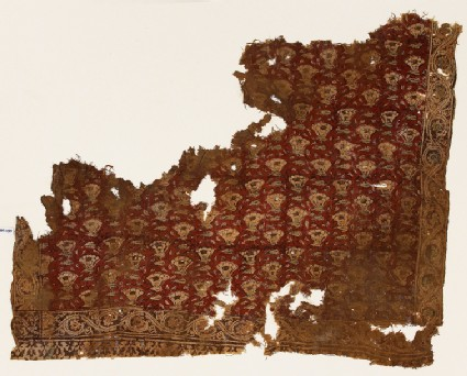 Textile fragment with flowers and vines