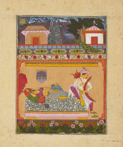 Lovers at dawn, illustrating the musical mode Raga Vibhasa