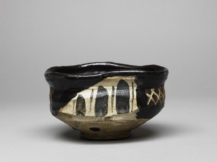 Tea bowl with aubergines and cross-hatches