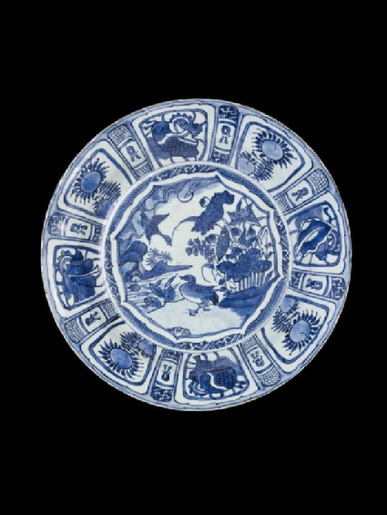 Blue and white foliate dish