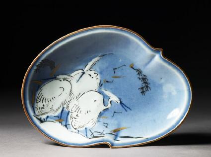 Dish with three egrets