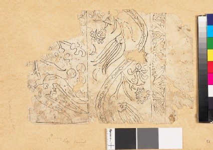 Fragmentary drawing for a tile or textile with floral border of undulating leaf-shapes