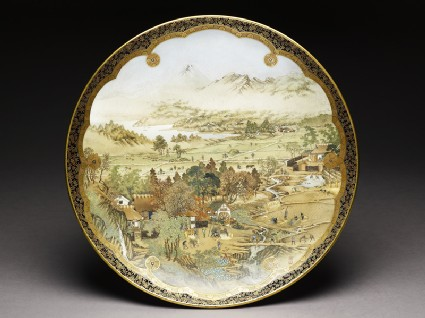 Kyo-Satsuma dish with landscape using westernized perspective