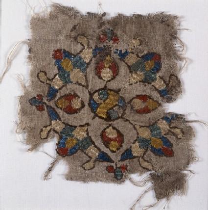 Textile fragment with cruciform palmette