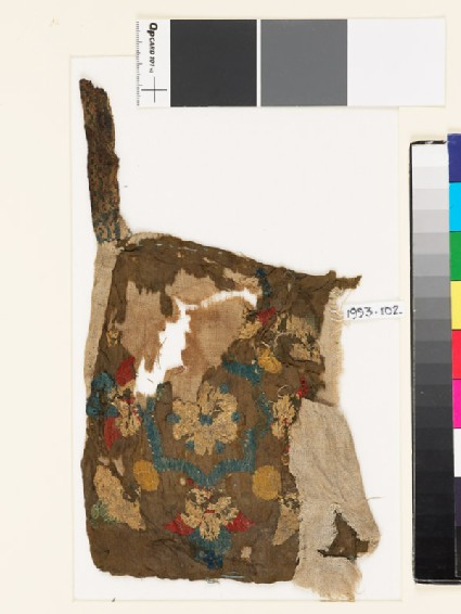 Textile fragment with octagon, rosette, and palmettes, possibly from a bag or pocket