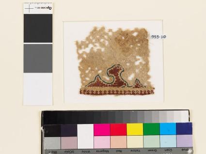 Textile fragment with half-palmette, diamond-shapes, and trefoils