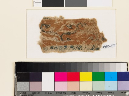 Textile fragment with band of scrolling stems and leaves