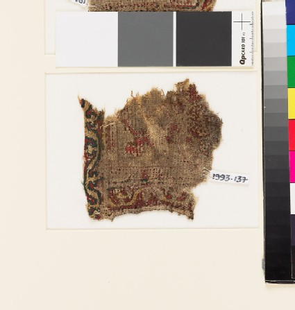 Textile fragment with scrolling stem border, probably from a tab