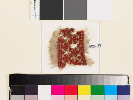 Textile fragment with palmettes, a chevron stem, and leaves
