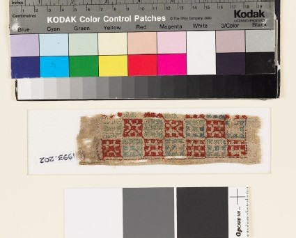 Textile fragment with squares