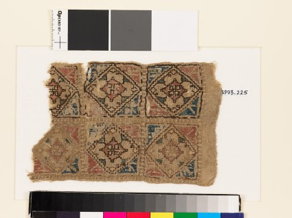 Textile fragment with squares, diamond-shapes, and quatrefoils