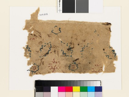 Textile fragment with rosettes and leaves