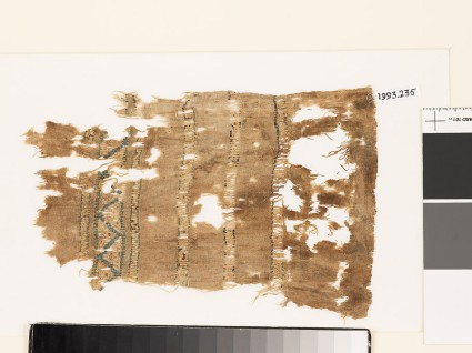 Textile fragment with geometric pattern and chevrons
