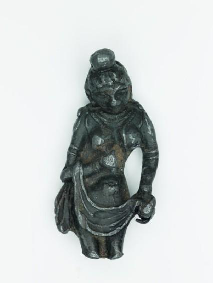 Nude female figure holding a drape