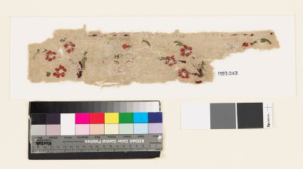 Textile fragment with floral sprays and hooked stems