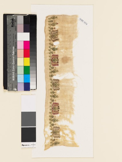 Textile fragment with flowering plants, stylized flowers, and arrowheads