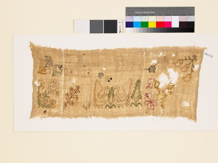 Sampler with flowering plants, birds, trees, trefoils, and S-shapes