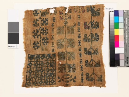 Sampler with floral shapes and chequerboard pattern