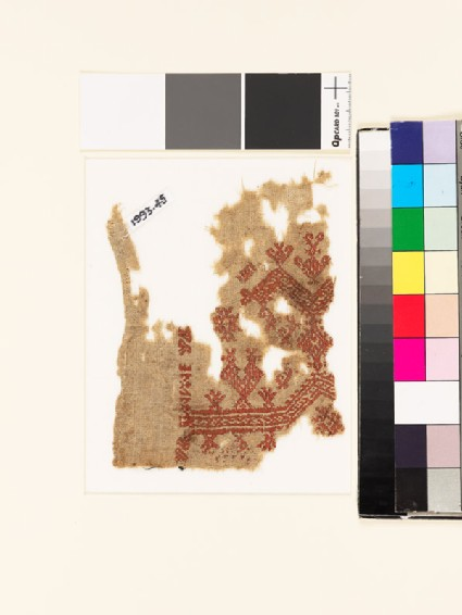 Textile fragment with double-headed bird, chevrons, and diamond-shapes