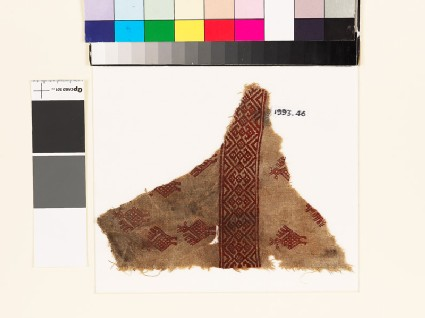 Textile fragment with stylized birds, palmettes, and diamond-shapes