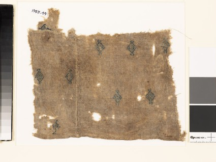 Textile fragment with diamond-shapes and palmettes, probably from a tunic