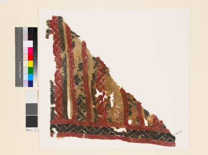 Textile fragment with palmettes and geometric shapes