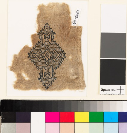 Textile fragment with lozenge-shaped medallion