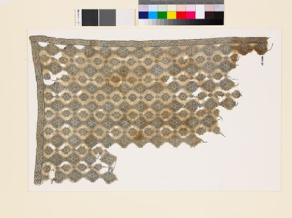 Textile fragment with diamond-shapes and geometric patterns