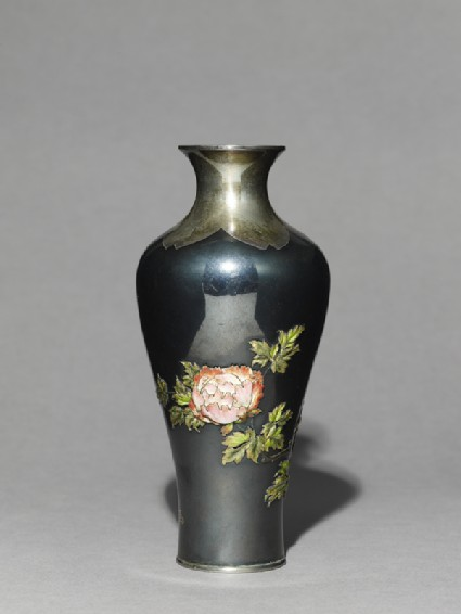 Baluster vase with poppies and tree peonies